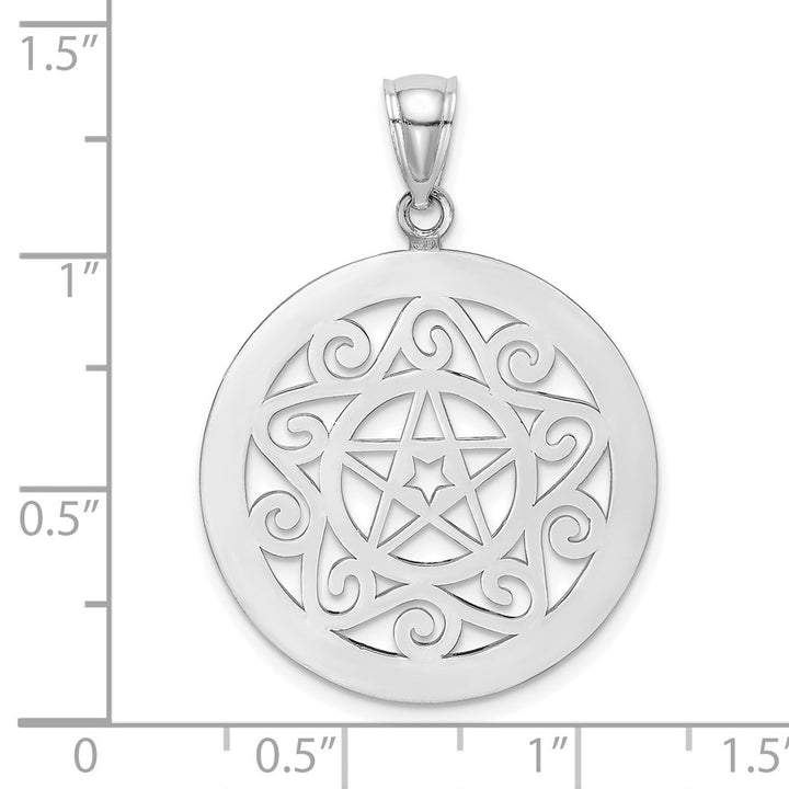 14k White Gold Tribal Star In Round Frame / Gate Jewelry Charm Pendant