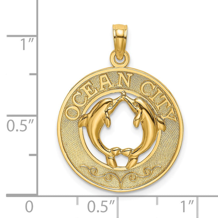 14k Yellow Gold OCEAN CITY Round Frame with  Dolphins Charm Pendant