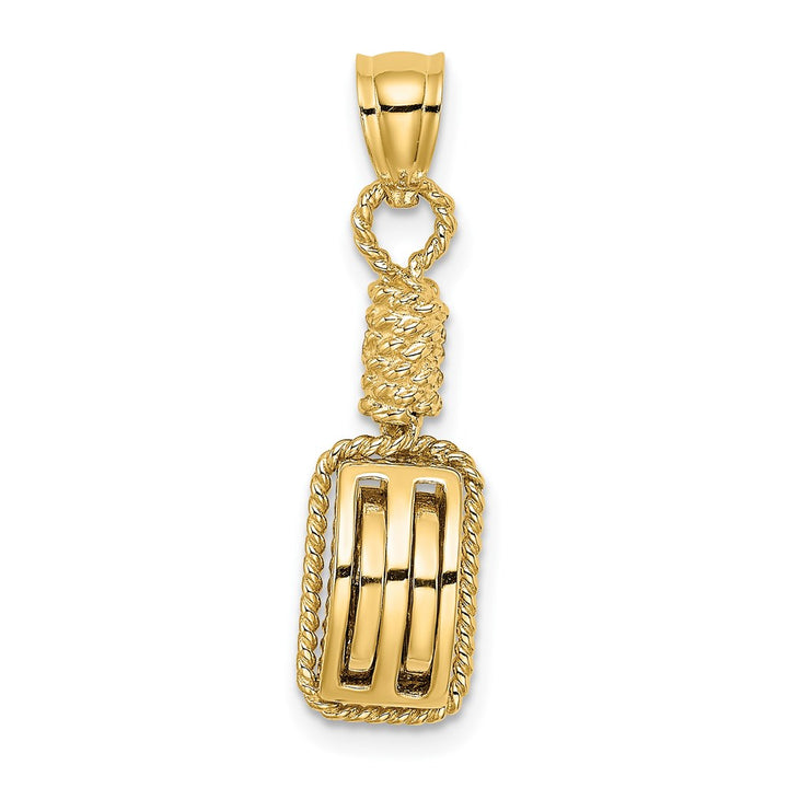 14k Yellow Gold 3D Block Mariners Pulley Charm Pendant
