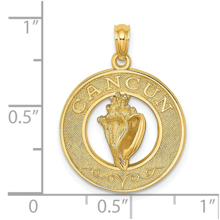14k Yellow Gold CANCUN On Round Frame with  Conch Shell Charm Pendant