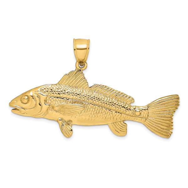 14k Yellow Gold 3D Red Fish Charm Pendant