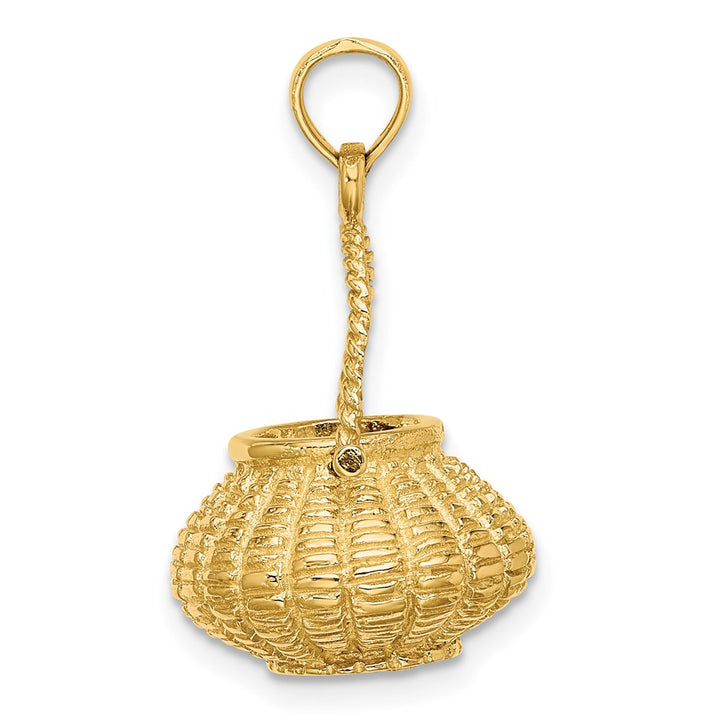 14k Yellow Gold 3D Moveable Handle Flower Basket Charm Pendant