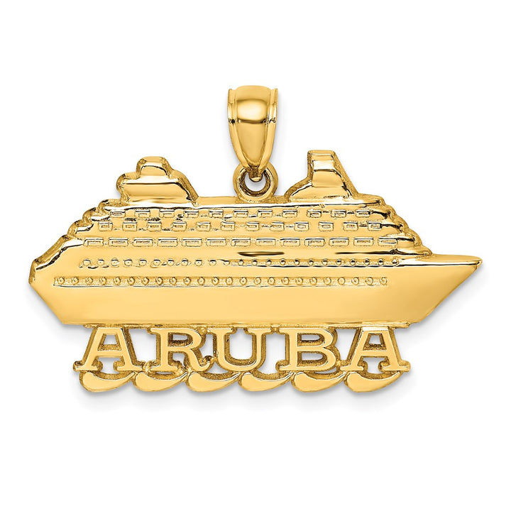 14k Yellow Gold Polished & 2-D ARUBA CRUISE SHIP with  Wave Charm Pendant