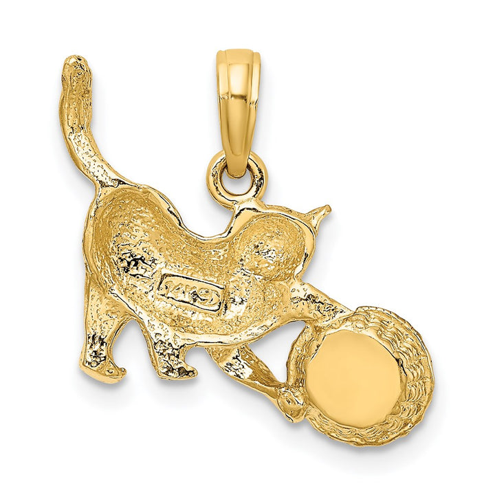 14k Yellow Gold with Rhodium Moveable RH 2-D Cat Playing with Yarn in Basket Charm Pendant