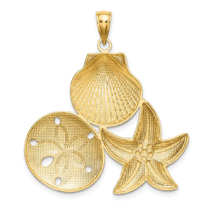 14k Yellow Gold with Rhodium RH Diamond Cut Scallop, Starfish, & Sand Dollar Cluster Charm Pendant