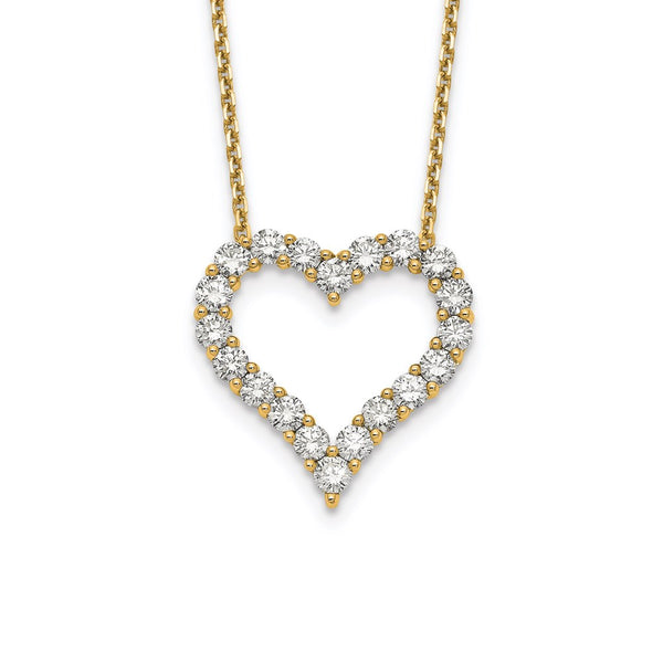 14kt Yellow Gold Lab Grown Diamond VS/SI, D E F, Heart Pendant Necklace 2 Carat