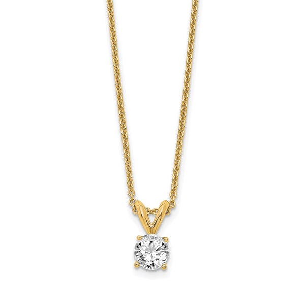14kt Yellow Gold Round Certified Lab Grown Diamond VS/SI, D E F, Solitaire Pendant 0.37 Carat