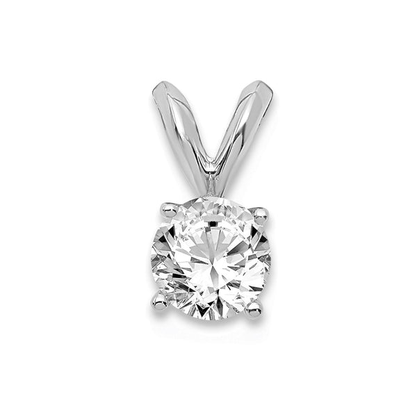 14kt White Gold Round Certified Lab Grown Diamond VS/SI, D E F, Solitaire Pendant 0.37 Carat