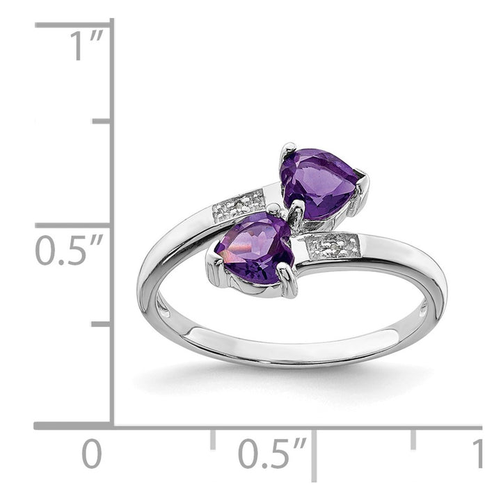 925 Sterling Silver Rhodium Amethyst and Diamond Heart Ring Size 7