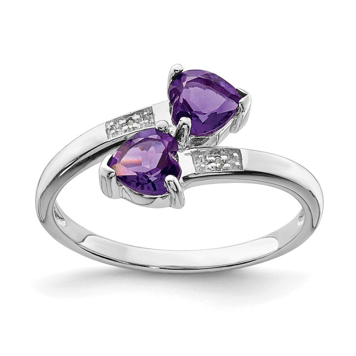 925 Sterling Silver Rhodium Amethyst and Diamond Heart Ring