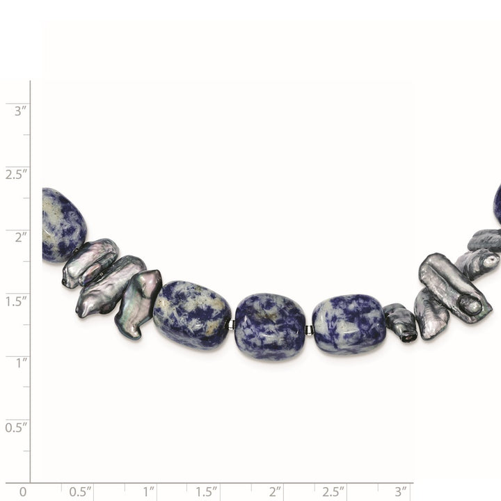 925 Sterling Silver Sodalite and Grey Freshwater Cultured Pearl Necklace, Bracelet