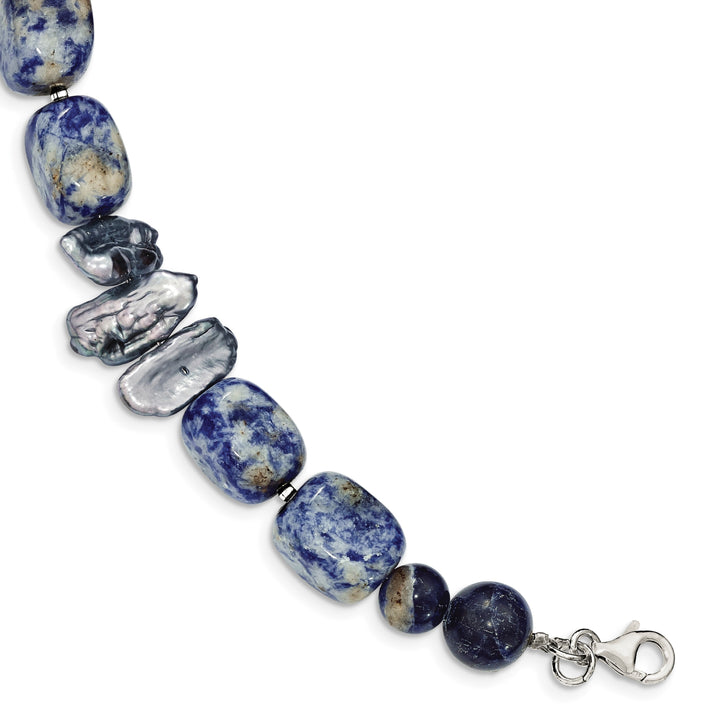 925 Sterling Silver Sodalite and Grey Freshwater Cultured Pearl Bracelet
