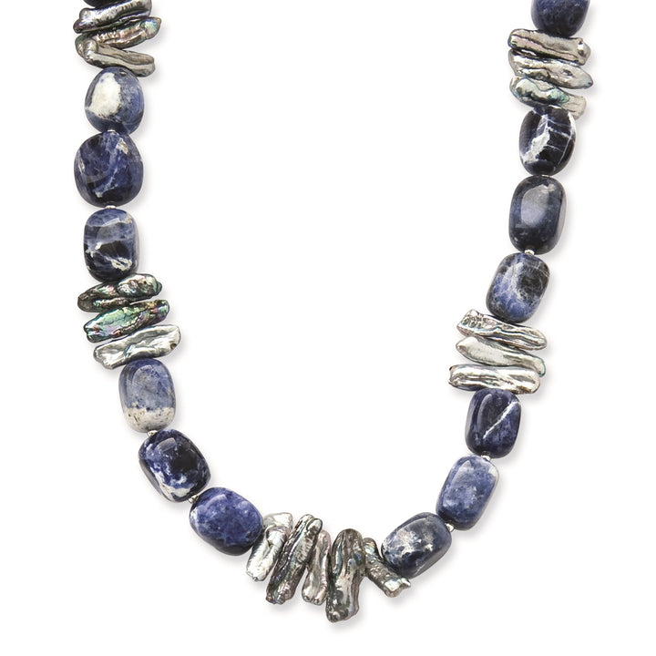 925 Sterling Silver Sodalite and Grey Freshwater Cultured Pearl Necklace 16 Inch