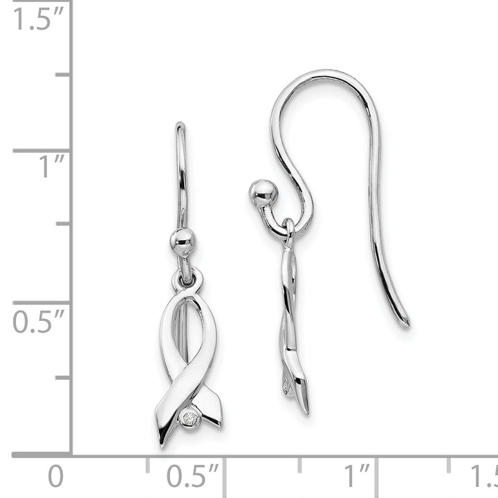 925 Sterling Silver White Ice Diamond Ribbon Dangle Earrings