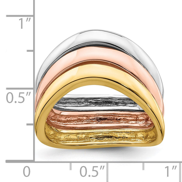 14k Gold Tri-Color Triple Wave Bands Charm Pendant