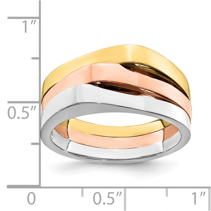 14k Gold Tri-Color Triple Peaked Top Band Ring