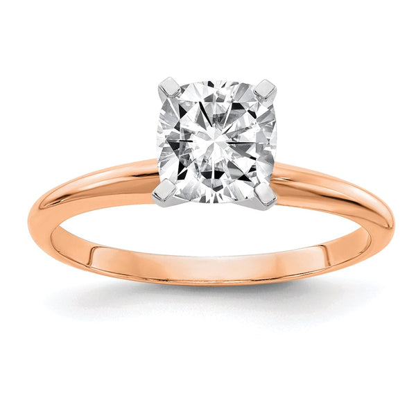 14kt Rose Gold 4.5mm Cushion Moissanite Solitaire Ring 0.5 Carat, Ring Size 7