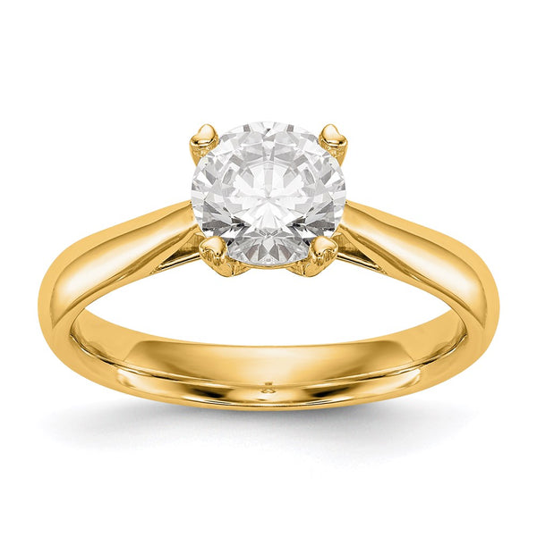 14kt Yellow Gold Round CertifiedSI1/SI2, G H I, Lab Grown Diamond Solitaire Engagement Ring 0.75 Carat, Ring Size 7