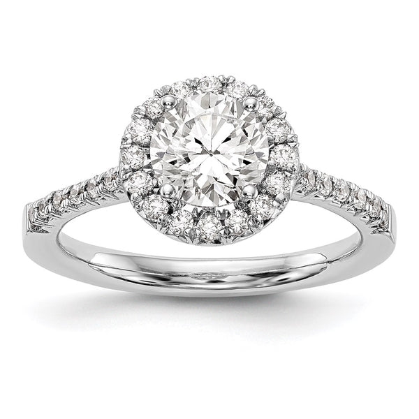 14kt White Gold True Origin Lab Grown Diamond VS/SI, D E F, S/M Round Halo Engagement Ring 0.28 Carat, Ring Size 7
