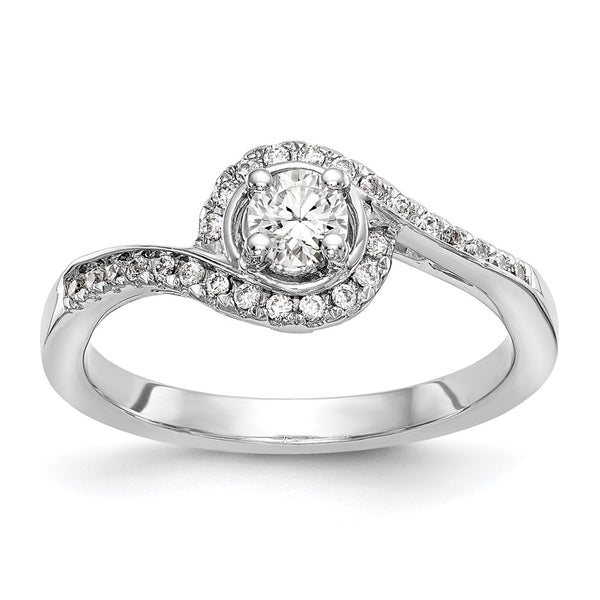 14kt White Gold True Origin Lab Grown Diamond VS/SI, D E F, Round S/M By-Pass Engagement Ring 0.3 Carat, Ring Size 7