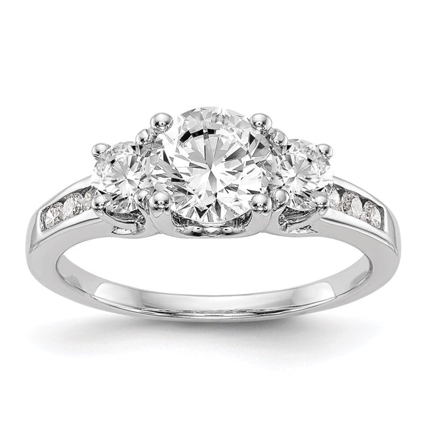 14kt White Gold Lab Grown Diamond SI1/SI2, G H I, 3-Stone Semi-Mount Engagement Ring 0.15 Carat, Ring Size 7