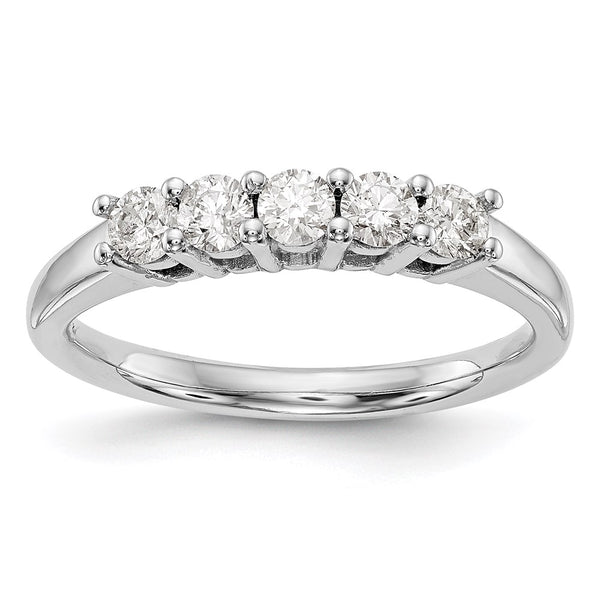 14kt White Gold True Origin Lab Grown Diamond VS/SI, D E F, 5-Stone Band 0.465 Carat, Ring Size 7