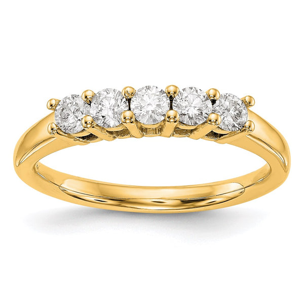 14kt Yellow Gold True Origin Lab Grown Diamond VS/SI, D E F, 5-Stone Band 0.465 Carat, Ring Size 7