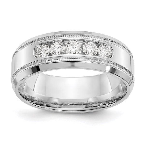 14k White Gold True Origin Lab Grown SI/VS Colorless Dia Polished Bevel Milgrain Band Size 8 to 13