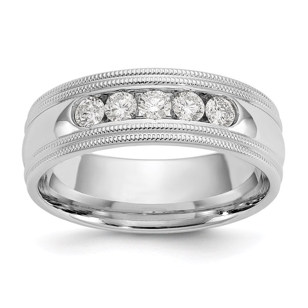 14k White Gold True Origin Lab Grown SI/VS Colorless Dia Polish/Double Milgrain Band (0.465Cttw) Size 8 to 13