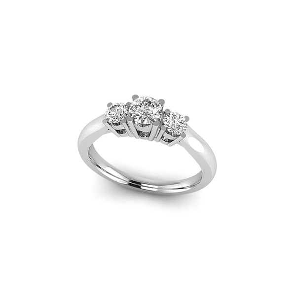 14kt White Gold Lab Grown Diamond VS/SI, D E F,w 3 Stone Band 0.738 Carat, Ring Size 7