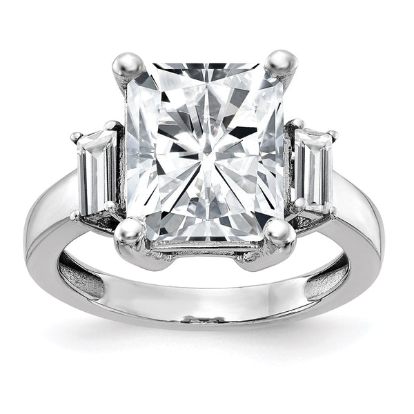 14kt White Gold 3-Stone Engagement Ring G H I True Light Moissanite 1.29 Carat, Ring Size 7