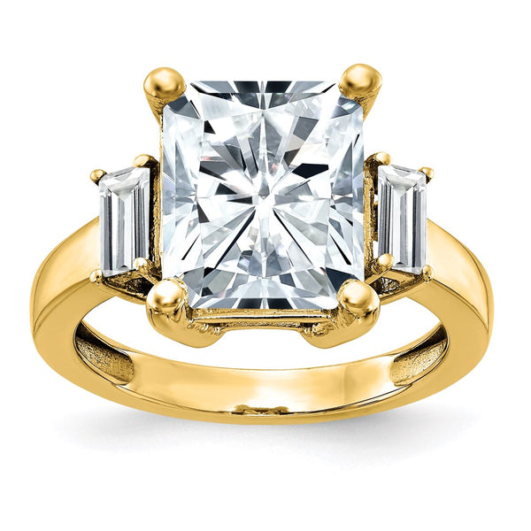 14K Yellow Gold 3-Stone Engagement Ring D E F Pure Light Moissanite 1.29 Carat, Ring Size 7