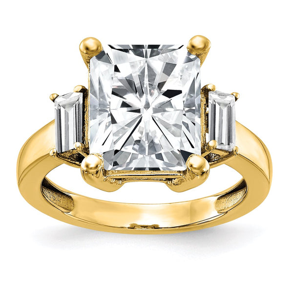 14K Yellow Gold 3-Stone Engagement Ring G H I True Light Moissanite 1.29 Carat, Ring Size 7