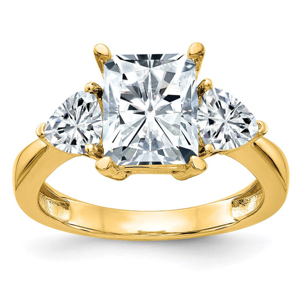 14K Yellow Gold 3-Stone Engagement Ring D E F Pure Light Moissanite 2.2 Carat, Ring Size 7