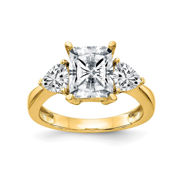 14K Yellow Gold 3-Stone Engagement Ring G H I True Light Moissanite 1.6 Carat, Ring Size 7