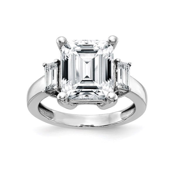 14kt White Gold 3-Stone Engagement Ring G H I True Light Moissanite 1.53 Carat, Ring Size 7