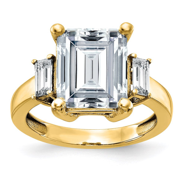 14K Yellow Gold 3-Stone Engagement Ring D E F Pure Light Moissanite 3.08 Carat, Ring Size 7