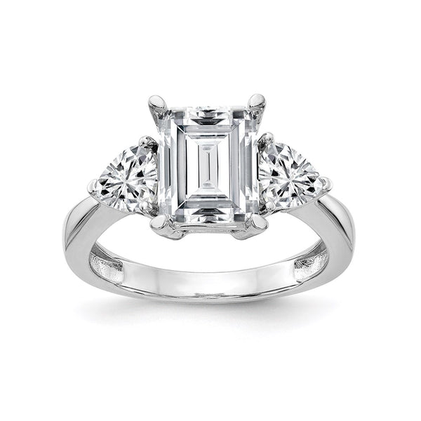 14kt White Gold 3-Stone Engagement Ring G H I True Light Moissanite 1.45 Carat, Ring Size 7
