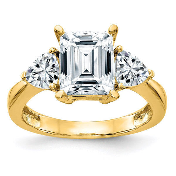 14K Yellow Gold 3-Stone Engagement Ring D E F Pure Light Moissanite 1.45 Carat, Ring Size 7
