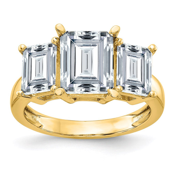 14K Yellow Gold Emerald-cut 3-Stone Engagement Ring D E F Pure Light Moissanite 1.65 Carat, Ring Size 7
