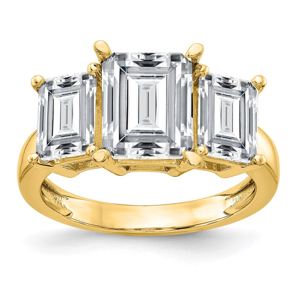 14K Yellow Gold Emerald-cut 3-Stone Engagement Ring G H I True Light Moissanite 2.91 Carat, Ring Size 7