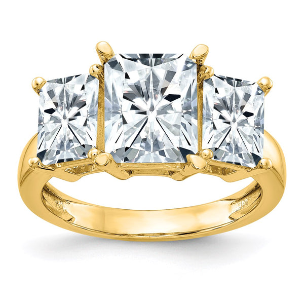 14K Yellow Gold Octagon Radiant 3-Stone Engagement Ring D E F Pure Light Moissanite 1.86 Carat, Ring Size 7