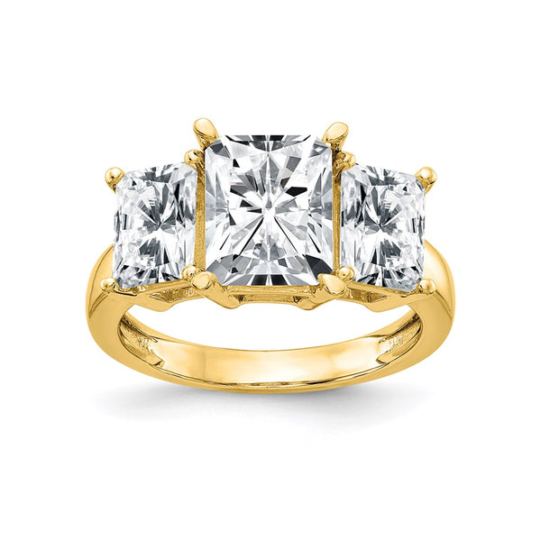 14K Yellow Gold Octagon Radiant 3-Stone Engagement Ring G H I True Light Moissanite 1.86 Carat, Ring Size 7