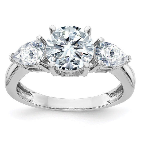 14kt White Gold 3-Stone Engagement Ring D E F Pure Light Moissanite 2.36 Carat, Ring Size 7