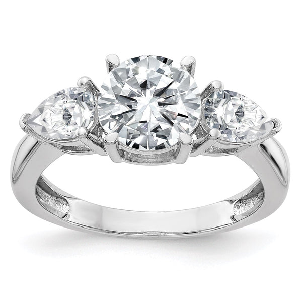 14kt White Gold 3-Stone Engagement Ring G H I True Light Moissanite 2.36 Carat, Ring Size 7