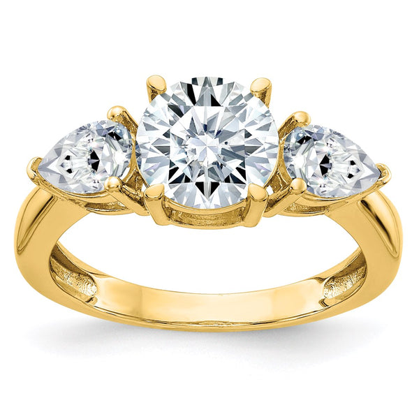 14K Yellow Gold 3-Stone Engagement Ring D E F Pure Light Moissanite 2.36 Carat, Ring Size 7
