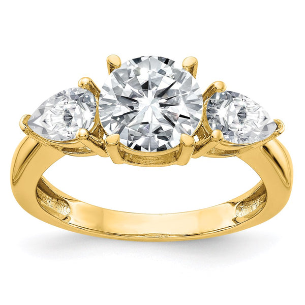 14K Yellow Gold 3-Stone Engagement Ring G H I True Light Moissanite 3.44 Carat, Ring Size 7