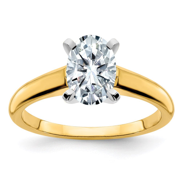 14k Two Tone 10x8mm OVAL Colorless Moissanite Solitaire Ring 3 Carat, Ring Size 5
