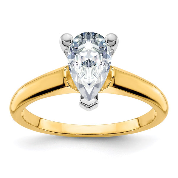 14k Two Tone 12x8mm PEAR Colorless Moissanite Solitaire Ring 3.57 Carat, Ring Size 10