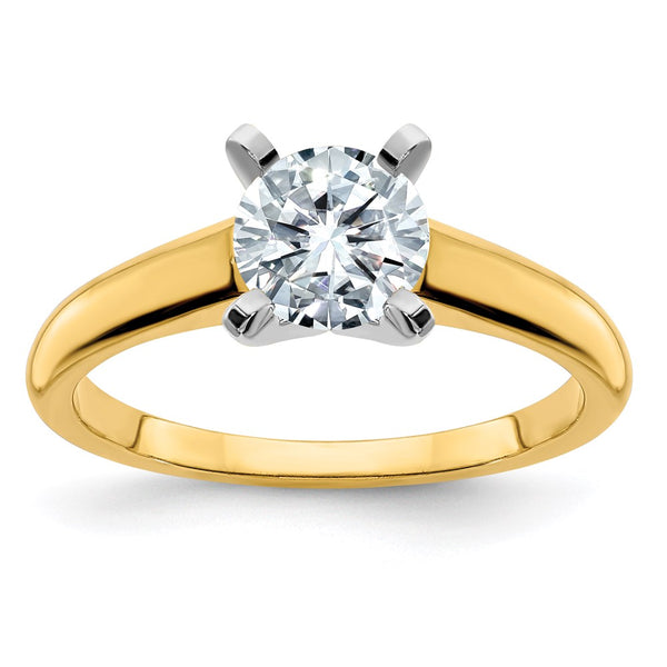 14k Two Tone 6.5mm ROUND Colorless Moissanite Solitaire Ring 1 Carat, Ring Size 9